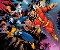 Thor (Eric Byrnes) vs. Captain Marvel (??)