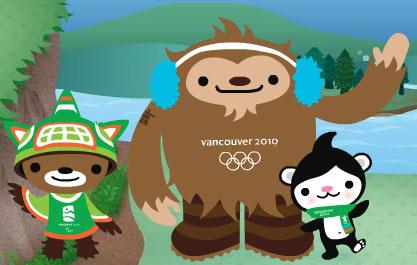 Oympic Mascots Quatchi, Miga, and Sumi