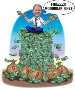 Roger Goodell on a pile of money