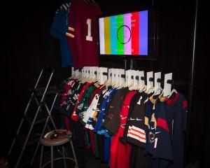 Jerseys on a rack